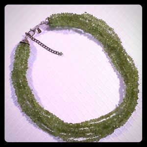 Beautiful lime green, 6 strand cluster necklace.